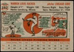 1956 Topps #282  Warren Hacker  Back Thumbnail