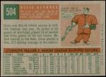 1959 Topps #504  Ossie Alvarez  Back Thumbnail