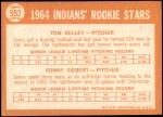 1964 Topps #552   -  Sonny Siebert / Tom Kelley Indians Rookies Back Thumbnail