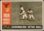 1960 Topps #390   1959 World Series - Game #6 - Scrambling After Ball Front Thumbnail