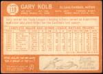 1964 Topps #119  Gary Kolb  Back Thumbnail