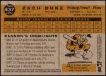 2009 Topps Heritage #437  Zach Duke  Back Thumbnail