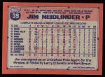 1991 Topps #39  Jim Neidlinger  Back Thumbnail