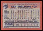 1991 Topps #274  Ken Williams  Back Thumbnail
