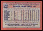 1991 Topps #340  Ramon Martinez  Back Thumbnail