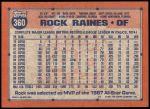 1991 Topps #360  Tim Raines  Back Thumbnail