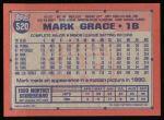 1991 Topps #520  Mark Grace  Back Thumbnail