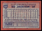 1991 Topps #600  Bo Jackson  Back Thumbnail