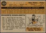 1960 Topps #185  Jim Owens  Back Thumbnail