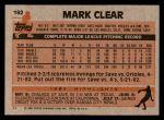 1983 Topps #162  Mark Clear  Back Thumbnail
