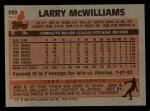 1983 Topps #253  Larry McWilliams  Back Thumbnail
