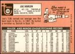 1969 Topps #328  Joe Horlen  Back Thumbnail