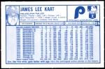 1976 Kellogg's #25  Jim Kaat   Back Thumbnail