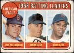1969 Topps #1   -  Carl Yastrzemski / Danny Cater / Tony Oliva AL Batting Leaders Front Thumbnail