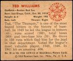 1950 Bowman #98  Ted Williams  Back Thumbnail