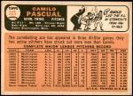 1966 Topps #305  Camilo Pascual  Back Thumbnail