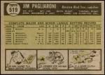 1961 Topps #519  Jim Pagliaroni  Back Thumbnail