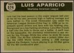 1961 Topps #574   -  Luis Aparicio All-Star Back Thumbnail