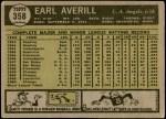 1961 Topps #358  Earl Averill Jr.  Back Thumbnail