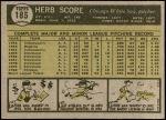 1961 Topps #185  Herb Score  Back Thumbnail