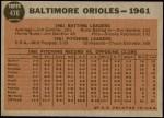 1962 Topps #476   Orioles Team Back Thumbnail