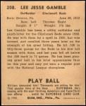 1940 Play Ball #208  Lee Gamble  Back Thumbnail