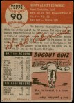 1953 Topps #90  Hank Edwards  Back Thumbnail
