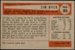 1954 Bowman #85 3B Jim Dyck  Back Thumbnail