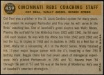 1960 Topps #459   -  Reggie Otero / Cot Deal / Wally Moses Reds Coaches Back Thumbnail