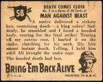 1950 Topps Bring Em Back Alive #58   Death Comes Close Back Thumbnail