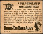 1950 Topps Bring Em Back Alive #83   Wild Elephant Noosed Back Thumbnail