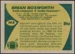 1989 Topps #192  Brian Bosworth  Back Thumbnail