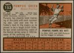 1962 Topps #153 NRM Pumpsie Green  Back Thumbnail