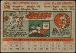 1956 Topps #336  Ellis Kinder  Back Thumbnail