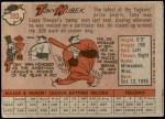 1958 Topps #393  Tony Kubek  Back Thumbnail