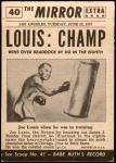 1954 Topps Scoop #40 xCOA  -  Joe Louis New Champ Back Thumbnail