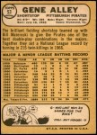 1968 Topps #53 A Gene Alley  Back Thumbnail