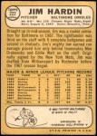 1968 Topps #222  Jim Hardin  Back Thumbnail