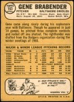 1968 Topps #163  Gene Brabender  Back Thumbnail