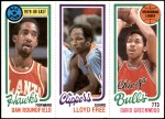 1980 Topps   -  Dan Roundfield / World B. Free / David Greenwood 3 / 218 / 42 Front Thumbnail