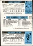1980 Topps   -  Austin Carr / Kareem Abdul-Jabbar / Calvin Natt 61 / 8 / 200 Back Thumbnail