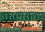 1954 Topps #119  Johnny Antonelli  Back Thumbnail
