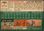 1954 Topps #3 WHT Monte Irvin  Back Thumbnail