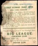 1933 Goudey #53  Babe Ruth  Back Thumbnail