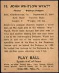 1941 Play Ball #55  Whitlow Wyatt  Back Thumbnail