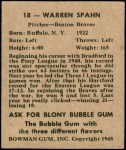 1948 Bowman #18  Warren Spahn  Back Thumbnail