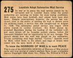 1938 Horrors of War #275   Loyalists Adopt Submarine Mail Service Back Thumbnail