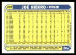 1987 Topps Traded #89 T Joe Niekro  Back Thumbnail