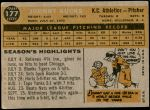 1960 Topps #177  Johnny Kucks  Back Thumbnail