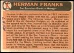 1966 Topps #537  Herman Franks  Back Thumbnail
